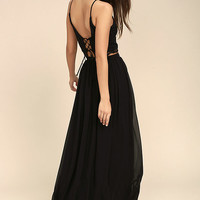 Midnight Memories Black Lace Two-Piece Maxi Dress