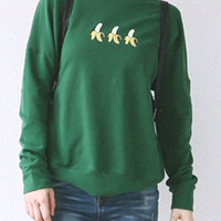 Green Banana Printed Sweatshirt