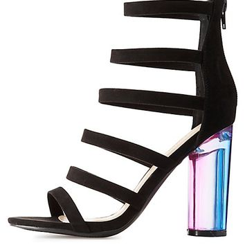Caged Lucite Heel Sandals