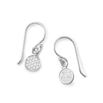 Rhodium Plated Pave Cubic Zirconia Disc Earrings