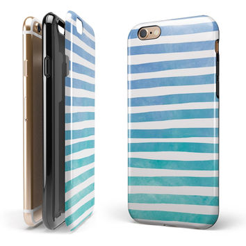 Ocean WaterColor Ombre Stripes iPhone 6/6s or 6/6s Plus 2-Piece Hybrid INK-Fuzed Case