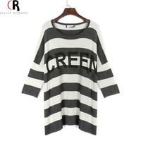 Black White Striped Letter Prints Half Batwing Sleeve T-shirt Boyfriend Oversized Tee Top Round Neck 2016 Spring Women New