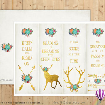 Printable Bookmarks | Instant Download | Set of 4 tribal gold bookmarks | digital collage sheet  | gold floral deer arrow antlers |