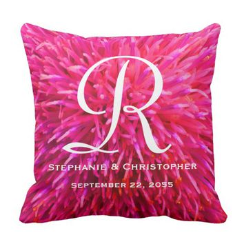 Monogram and Names Hot Pink Abstract Floral Pillow