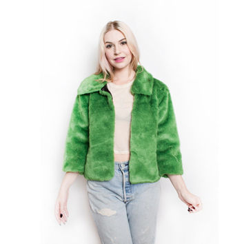 Vintage 90s Faux Fur Coat - Green Cropped Jacket 1990s - Small
