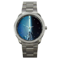 "Star Wars "" Light Saber "" on a Silver Sports Watch"