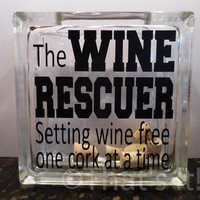 wine cork holder, glass block cork collector, the Wine Rescuer, mothers day gift, wine drinker, housewarming gift, birthday gift