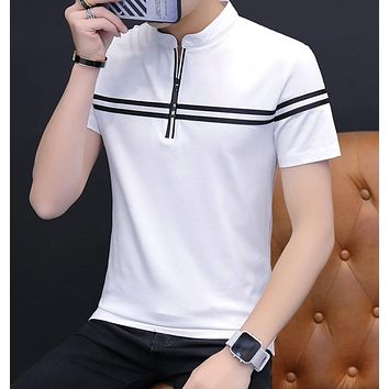 Mens Striped Stand Collar Polo Shirt