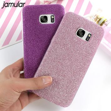 JAMULAR Bling Glitter Phone Case for Samsung Galaxy S8 Plus S7 S6 Edge Silicone Shining Cover for Samsung Galaxy A5 A3 2017 2016