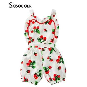 SOSOCOER Baby Girls Rompers 2017 Summer Strawberry Suspender Toddler Girl Jumpsuit Baby Clothes Cute Fruit Kids Newborn Romper