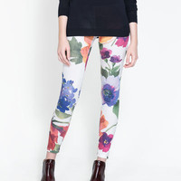 FLORAL PRINT LEGGINGS - Trousers - TRF - New collection | ZARA United States
