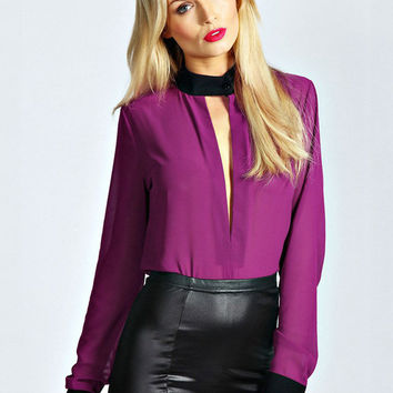 Purple Chiffon Deep V-Neck Cutout Cuff Sleeve Button Down Blouse