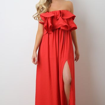 Ruffled Strapless Slit Maxi Dress