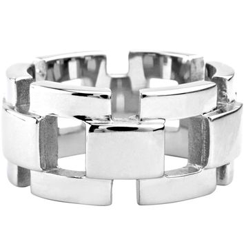 Inox Jewelry Men's 316L Stainless Steel Curb Chain Ring