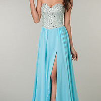 Strapless Prom Gown with Beaded Bodice by Jasz
