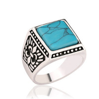 Western Ethnic Style Antique Silver Signet Rings Square Turquoise Men Finger Ring For Male Accessories Jewelry Bague