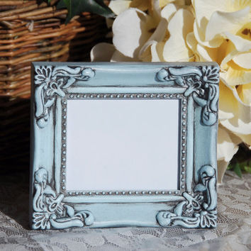 Ornate wedding decorations: Pale vintage baby blue hand-painted small decorative tabletop picture frame with easel back