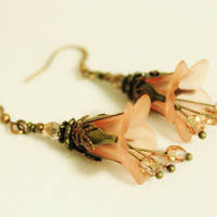 Dangly Pink Flower Earrings