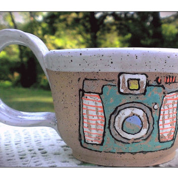 Hand Painted Pottery Mug Camera Photographer