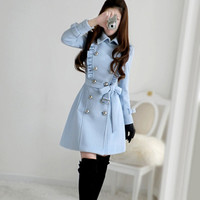 Winter Blue Flouncing Slim Pure Color Long Wool Coat