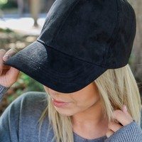 So Soft Suede Baseball Cap - Black