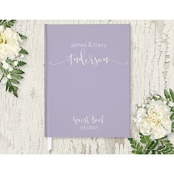 Wedding Guest Book, Hardcover, Modern Lavender, Choice of Colors & Sizes