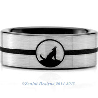 Wolf Wrap Around Ring Tungsten Wedding Band Ring Mens Womens Brushed Pipe Cut Silver Fanatic Geek Anniversary Engagement ALL Sizes Available