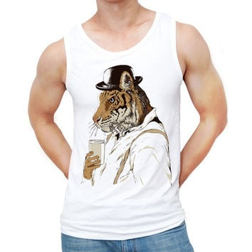 2017 New Fashion Clockwork Tiger Printed Men Tank tops O-Neck Casual Vest Hipster Creative Singlets