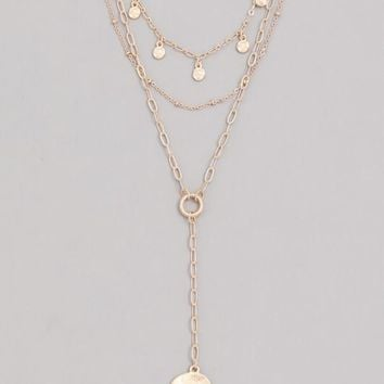 Layered Coin Lariat Necklace