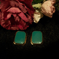 Vintage 1980s Fashion Gold Tone Enamel Earrings Rich Green Teal Rectangle Jewelry Festive Christmas Green Holiday Jewelry