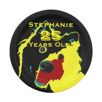 Happy Yellow Dog Paper Plates, 25th Birthday Party Paper Plate