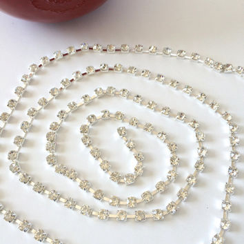 1 yard 4.5 mm rhinestone chain,glass rhinestone chain,embellishment,jewelry,scrapbooking,headbands,crafts, home decor.