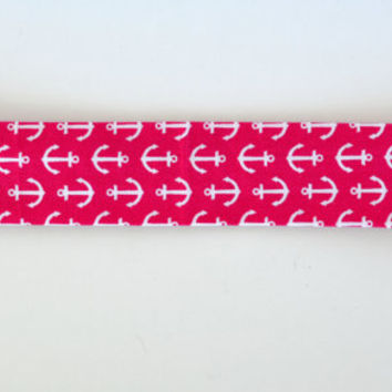 Pink and white anchor pattern cotton fabric headband, no slip adult women's elastic yoga headband, sports workout headband