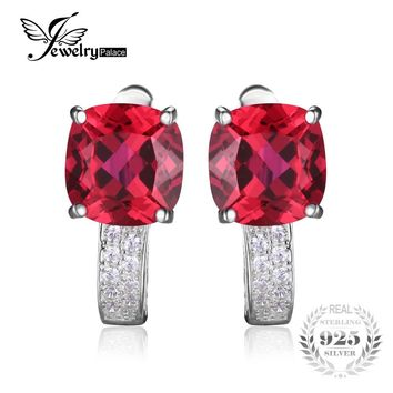 JewelryPalace Cushion 4.6ct Created Red Ruby Clip On Clip Earrings 925 Sterling Silver Jewelry Square Vintage Earrings For Women