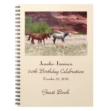 60th Birthday Party Guest Book, Horses in Canyon Notebook