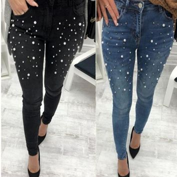 OMCHION 2018 Spring Summer Pearl Beading Ripped Jeans Women High Waist Denim Black Pants Women Hips Up Skinny Jeans DNX28