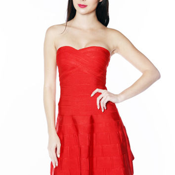 Red Sweet Heart Fit And Flare Bandage Dress