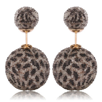 Italian Import Gum Tee Mise en Style Tribal Double Bead Earrings - Micro Bead Tiger Spots Design