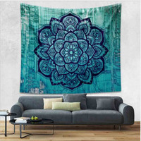 Teal Bohemian Tapestry Colored Printed Decorative Mandala Tapestry Indian 130cmx150cm 153cmx203cm Boho Wall Carpet