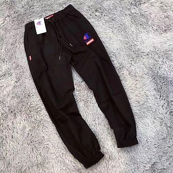 Champion x Supreme Ms. Tide fashion casual tight pants trousers F Black
