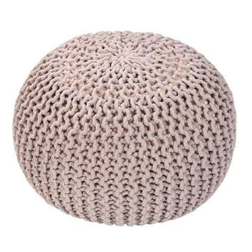 Handmade Round Knitted Pouf | Silver Gray |