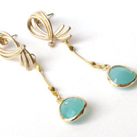 Earrings gold plated hooks with turquoise crystal, wedding, bridesmaid, christmas, cij