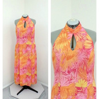 Vintage 90s Plus Size Bright Pink and Orange Maxi Dress, High Collar, Keyhole, A Line, Long Chiffon Dress, Leaf Print, Casual Summer Dress