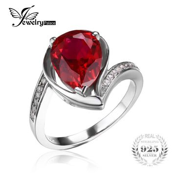 JewelryPalace Water Drop 5ct Created Ruby Anniversary Promise Ring Pure 925 Sterling Silver 2016 New Fine Jewelry For Women