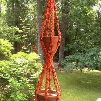 Macrame Plant Hanger, orange two tier, double hanger with wooden beads,  vibrant 4 mm Polyolefin cord, vintage style