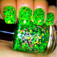 Glow-in-the-Dark Fluorescent Green Glitter Halloween Nail Polish - NEW - Hand Blended - ZOMBIE
