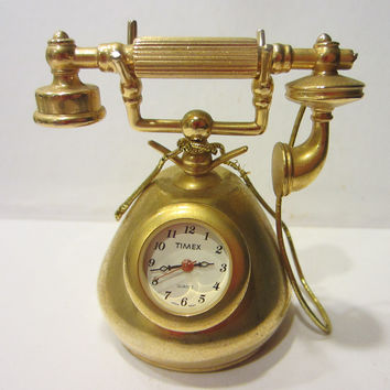 Timex Miniature Telephone Golden Brass Quartz Clock Japan Movement