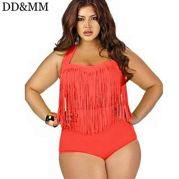 DD&MM Bikini Vintage Long Tassel Fringe Women Plus Size Swimwear High Waist Swimsuit Wear Push Up Bikini Bathing Suits