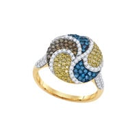 Mix Color Diamond Fashion Ring in 10k Gold 1.05 ctw