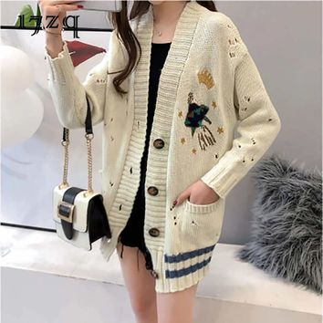 17zq 2018 Autumn Winter Sweater New Women Knitted Single Breasted Sweater Office Lady Embroidered Cardigan Sweater Coat S1603